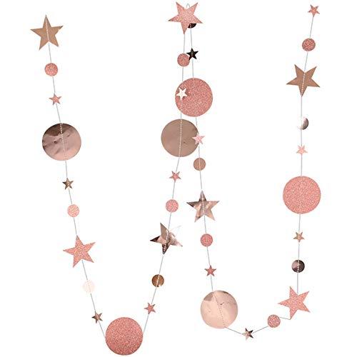 DIWULI, 4 m XXL sterren en maan slinger om op te hangen, ster slinger, sterretjes wimpel ketting rose-goud, ster banner, partij, meisje jongens kinderkamer, slaapkamer, decoratie, verfraaien