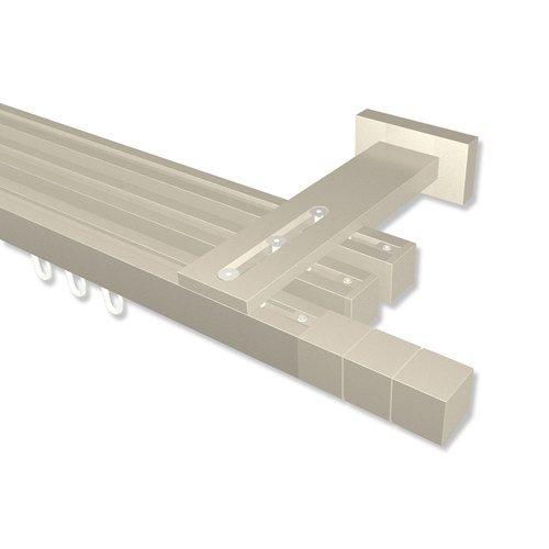 INTERDECO Innenlauf-Gardinenstangen eckig Satin-Silber 3-läufig 20x20 mm Quadline (Multi) Cubes, 220 cm