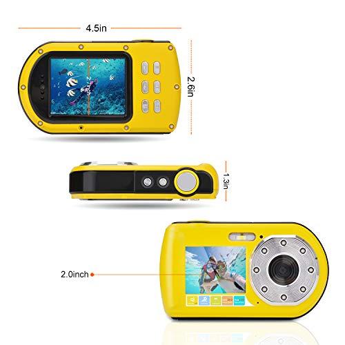 Wasserdichte Kamera FHD 1080P 24 MP, 16-fach Zoom Unterwasser-Digitalkamera, Selfie Dual Display 2,7- und 2,0-Zoll-Bildschirm DV-Aufnahme 10M (100 Zoll) Wasserdichte Action-Digitalkamera (Gelb)