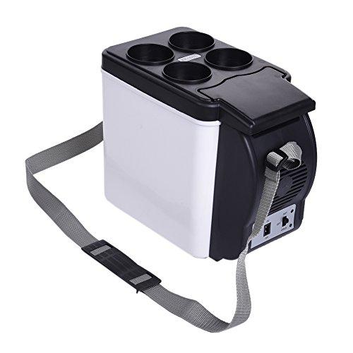 Mini Réfrigérateur 6L DC 12V Réfrigérateur de Voiture 2 en 1 Boîtes de Réfrigération/Incubateur Auto Camping Glacière Seau à Glace avec Sangle Portable pour Voiture Maison, Bureau, Hôtel ou Dortoir