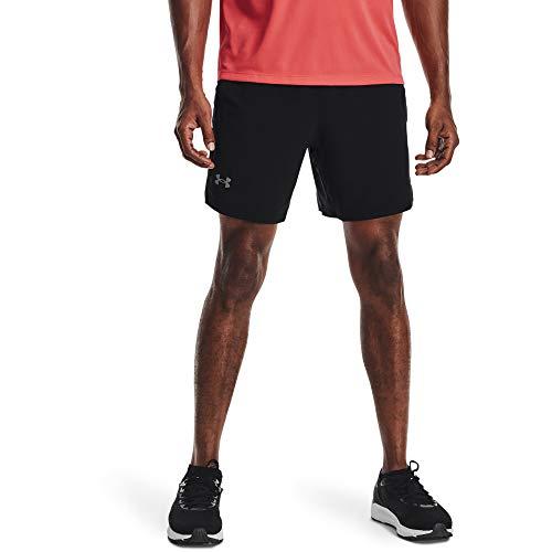 Under Armour UA LAUNCH SW 7'', Short de gym confortable, Short de sport pour homme Homme, Black / Black / Reflective, L