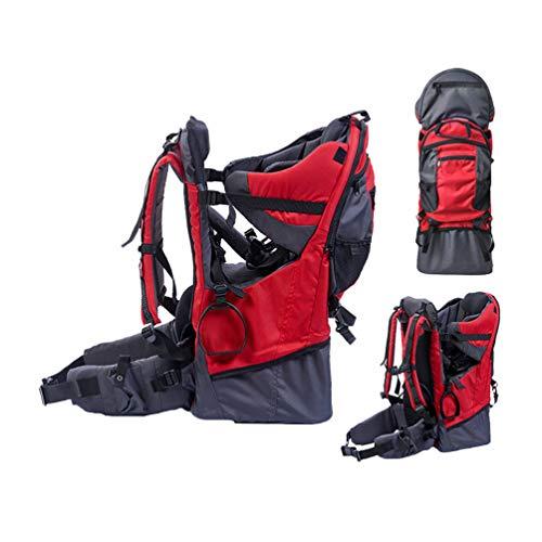 BJYX Babyrúckentragen mit Abnehmbare Schultasche Integrierter Regenhülle und Markise Babytragen Geeignet für Bergsteigen Reisen Wandern Outdoor Maximale Belastung 25 Kg,Rot