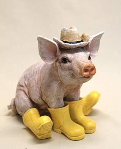 Vamundo Sitzendes Deko Schwein mit Hut und Gummistiefel gelb # Ferkel # wetterfest