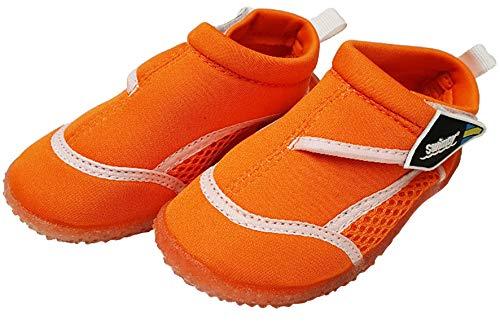 Swimpy® Unisex-Kinder Aquaschuhe Strandschuhe Badeschuhe Schwimmschuhe aus Neopren und Mesh Sohle aus TPR sowie 100% UV-Schutz Orange 26-27 EU