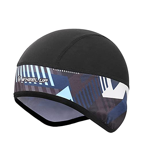 LXFHOMED Gorro Ciclismo, Forro Polar De Invierno Gorro Bajo Casco Con Tapas De Orejas Y Agujero De Gafas, Térmico, A Prueba De Viento Gorro Invierno, Apto Para Moto (Azul negro,Talla única)