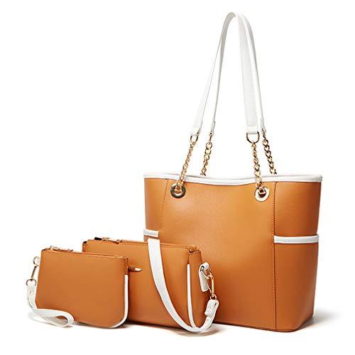 Pahajim Purse and Handbags Set Pu Leather Crossbody Shoulder Bag Messenger Tote Bags Large Capacity Women Laptop Work Handbags (Brown)