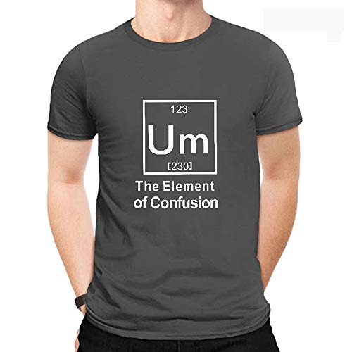 Men's Cotton Classics Crew Neck T-Shirt Fun The Element of Confusion Graphics Short Sleeve Casual Summer Tee Shirts Dark Grey S
