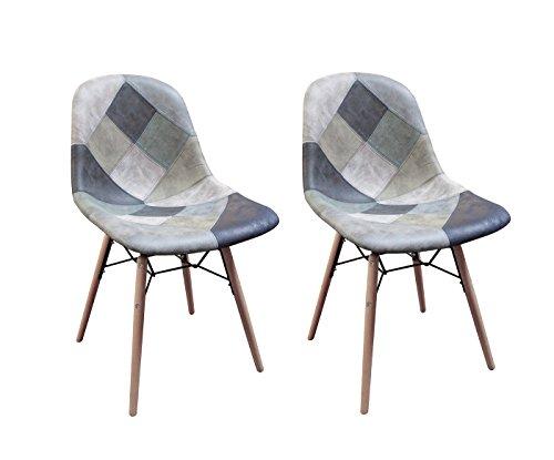 Meubletmoi - Sillas Patchwork azul escandinavo vintage – Suave estilo Suedina – Patas de madera – Tendencia industrial contemporánea – Juego de 2 – Summer Blue