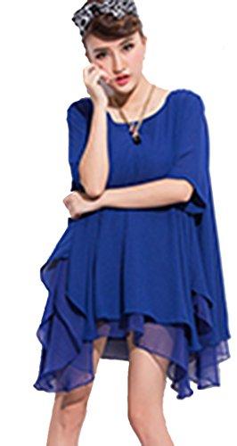 YALI Robe irrégulière ample XL Manches courtes bleues.