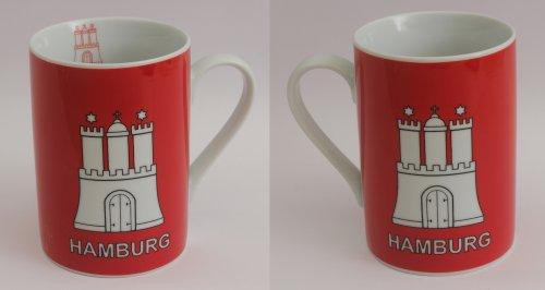 Buddel-Bini Hamburg Becher mit Hamburger Wappen Souvenir Kaffeebecher Teebecher