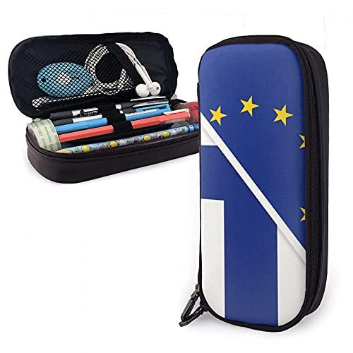 Flagge der europäischen und finnischen Nationalflagge Leder Federmäppchen Tasche, Große Kapazität Strapazierfähiger Reißverschluss Stift Tasche Box für Jungen Mädchen Kinder, Bleistiftbeutel