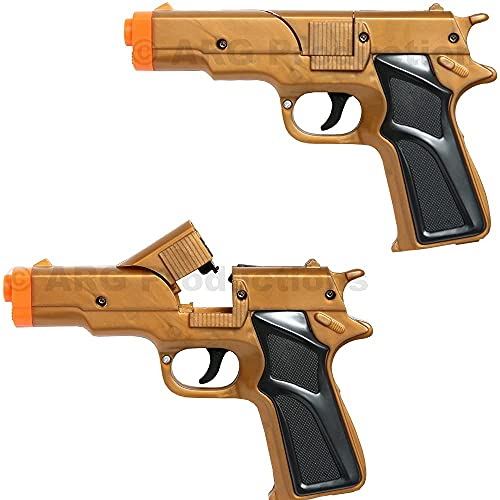 Set of 2 - Golden Cap Gun Toy, Revolver Pistol Detective Police Cowboy