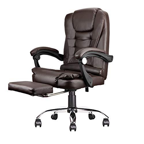 Fauteuil de bureau ergonomique à dossier haut avec accoudoirs et rembourrage en mousse à faible résilience, repose-pieds rétractable, réglage de la hauteur, rotation à 360 degrés (marron foncé)