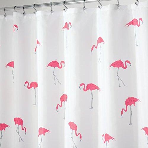 MDESIGN Duschvorhang mit Flamingomuster - ideales Badzubehör mit perfekten Maßen: 183 cm x 183 cm - langlebige Duschgardine - Farbe: grau/pink