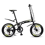 Bicicleta Plegable de 20 Pulgadas para Adultos, 7 Velocidad Variable, Bicicleta Plegable para Hombres y Mujeres, Bici Plegable con Frenos de Disco Dobles de Velocidad Variable