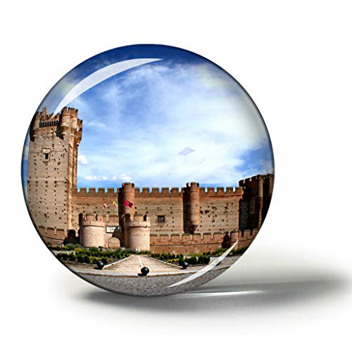 Hqiyaols Souvenir España Castillo Valladolid Imanes Nevera Refrigerador Imán Recuerdo Coleccionables Viaje Regalo Circulo Cristal 1.9 Inches