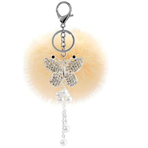 Bommel Keychain DIY mit Strass Schmetterling Troddel Perle Anhänger Schlüsselanhänger plüsch Ball Taschenanhänger Strass Elegant Pompom Weich Schlüsselring Plüsch-Kugel Auto-Anhänger (# 12)
