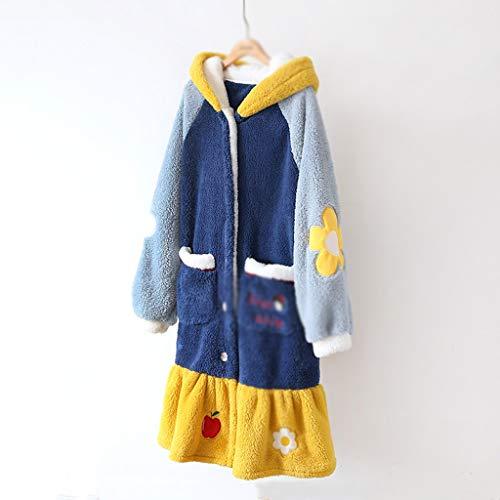 SCDZS Pyjamas Frauen Herbst Robe Winter Night Kleid Süße Nachthemd Dicke Home...