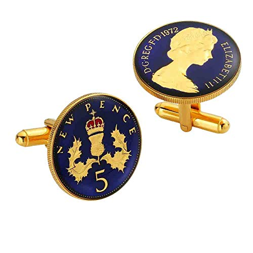 Five Pence Enamelled Coin Cufflinks (1968-1989) - Handmade - Blue and Gold - Perfect Wedding, Christmas or Birthday Gift (1969)