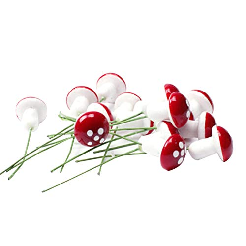SUPVOX 100 Piezas de Setas Miniaturas Bonsai Figuras Paisaje Decoración Bonsai Artificial (Rojo)
