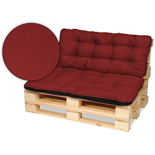 SuperKissen24. Cojín para Palet Sofá Banco 120x80 cm y Respaldo 120x50 cm Asiento Cómodo e Impermeable para Muebles Terazza Exterior - Rojo Oscuro