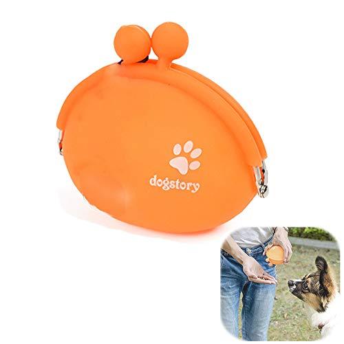 YWRD Leckerlibeutel Fur Hunde Leckerlie Beutel Hundetraining Wandertasche Silikon-Haustier-Trainingsbeutel Hundefestlichkeits-Tasche orange