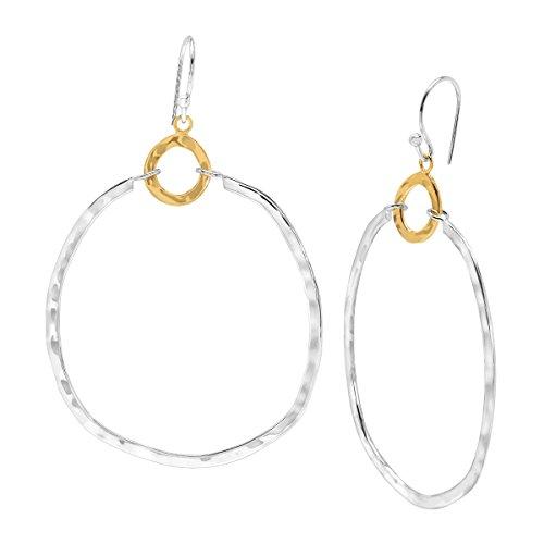 Silpada 'Dynamic Duo' Double Circle Drop Earrings in Sterling Silver & Brass 1/2 Sterling Silver Jewelry