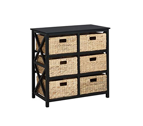 eHemco 3 Tier X-Side Storage Cabinet with 6 Baskets, Black