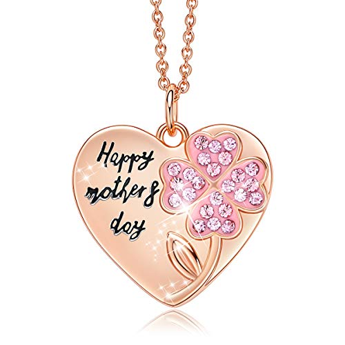 CDE Mothers Day Necklaces Rose Gold Plated Heart Pendant Necklace for Women Gift, Embellished...