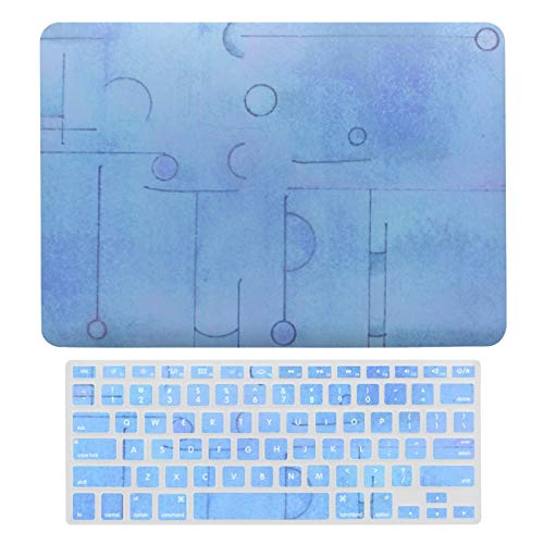 for MacBook Air 13 13 Inch Case A1466、A1369 Hard Shell Cover for MacBook Air 13 Case & Keyboard Cover, Faded Blue Schematic Watercolor Laptop Protective Shell Set