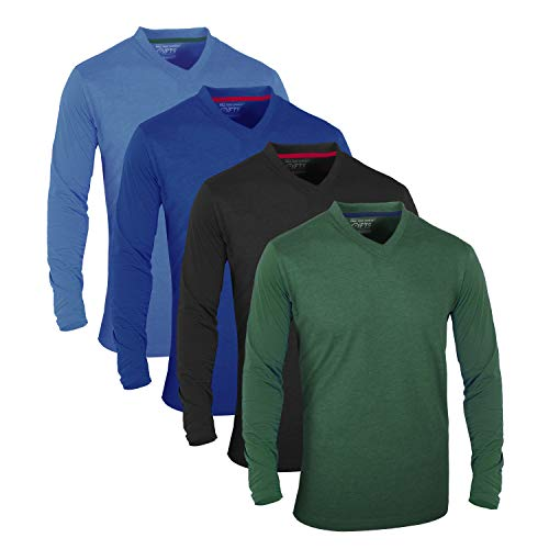 FULL TIME SPORTS® Tech 4 Pack Assorted langärmlige, lässige Top-T-Shirts mit V-Neck, Medium - Hellblau Dunkelblau Holzkohle Grün