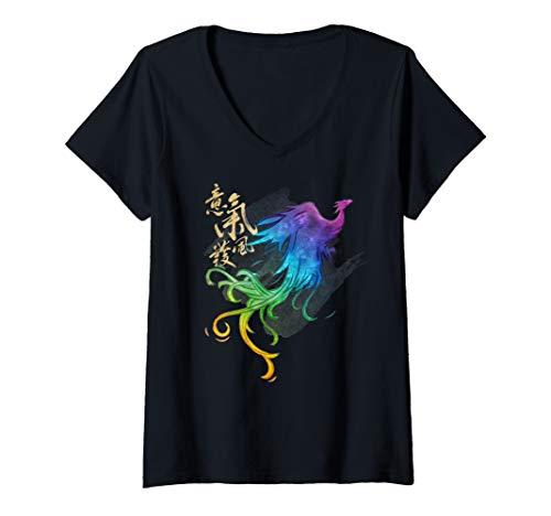 Womens Disney Mulan Live Action Phoenix Watercolor V-Neck T-Shirt