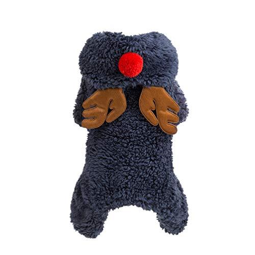 Balacoo - Disfraz de Reno de Navidad para Mascota, con Capucha de Forro Polar para Perro, para Invierno, cálido,...