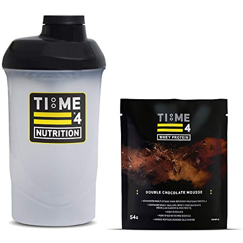 Time 4 Nutrition 700ml Protein Shaker Bottle + Single Serving Sachet of Time 4 Whey Protein Our Premium Time Release Whey Protein Blend (Double Chocolate Mousse)