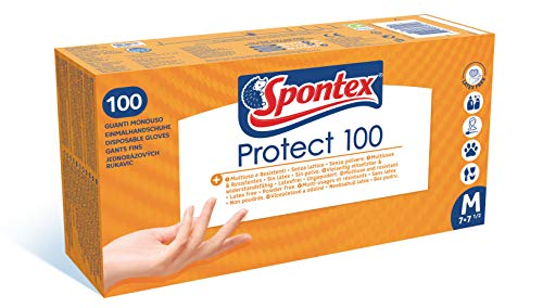 SPONTEX - Protect x100 - Boîte de 100 Gants Fins Jetables Hypoallergéniques en Vinyle - Sans latex - 1 boîte de 100 gants - Taille M