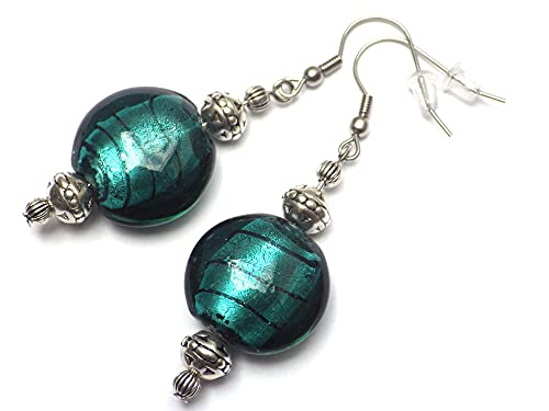 Pendientes Venezia en acero inoxidable y cuentas planas de cristal de Murano verde petróleo