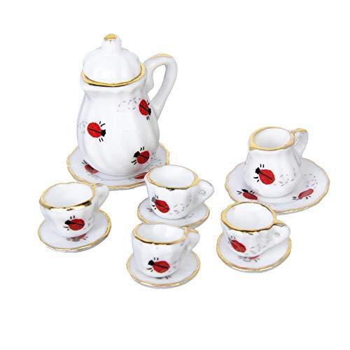 15Pcs 1/12 Dollhouse Miniature Tea Set Doll House Miniature Dining Ware Porcelain Tea Set Dish Cup Plate Ladybug Print Tea Set