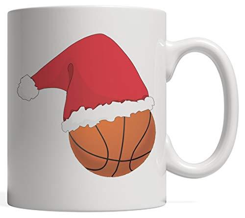 ¡Linda pelota de baloncesto con gorro de Papá Noel para Navidad! - Divertida taza navideña para fanáticos de los deportes, entrenador o atleta que ama la cancha, la canasta y las pelotas - Este invier