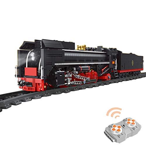 OviTop Technik Zug Eisenbahn 1552 Teile Technic Güterzug Technik Ferngesteuert Zug mit Motor, Fernbedienung und Beleuchtungsset Technik Dampflokomotive Kompatibel mit Lego Technic