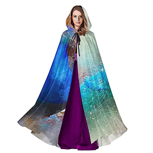 Splashing Peacock Tunic Hooded Robe Adult Cloak Long Cape Hoodie for Christmas Halloween Unisex Cool Cosplay Costumes