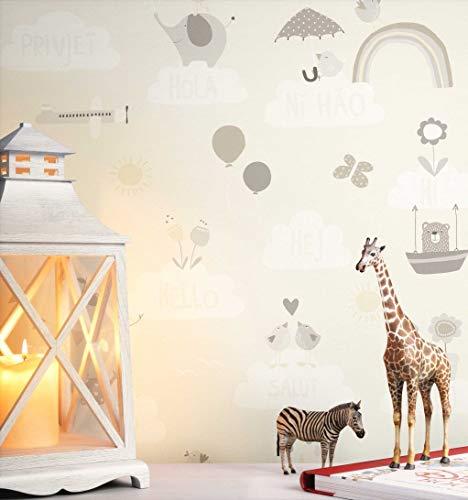 NEWROOM Kindertapete beige Elefanten Vögel Kinder Papiertapete Papier Kindertapete Kinderzimmer Babytapete Babyzimmer Natur