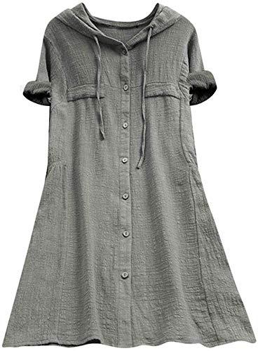 FTCayanz Damen Leinen Tunika Kleid V-Auschnitt Einfarbig Knöpfe Oberteil Lange Bluse Tops Grau 2XL