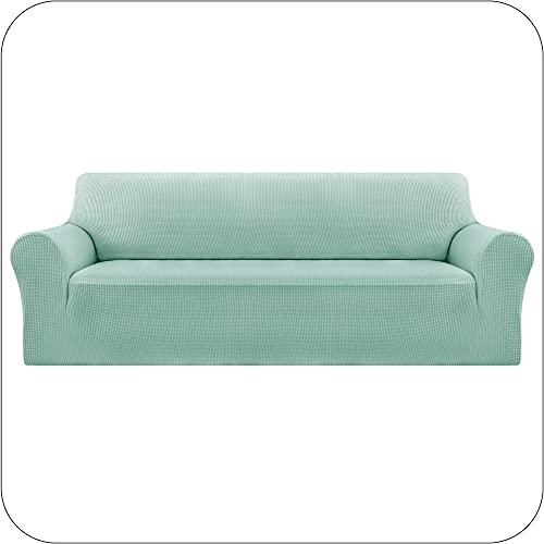 Amazon Brand – Umi Funda Sofa Suave Elastica de Color Liso 4 Plazas Verde Claro