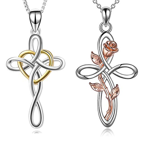 YFN Celtic Knot Cross Necklace Sterling Silver Infinity Love Rose Flower Pendant Necklace for Women Mom