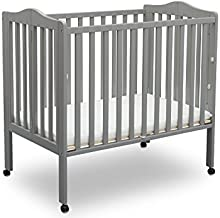 Delta Children Folding Portable Mini Baby Crib with Mattress, Grey
