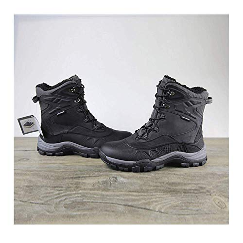 HaoLin Senderismo Trekking Caza Botas Magnum Botas De Trabajo Al Aire Libre Impermeables Hombres Espacio Cuero Trekking Escalada Zapatos Goretex,Black-45