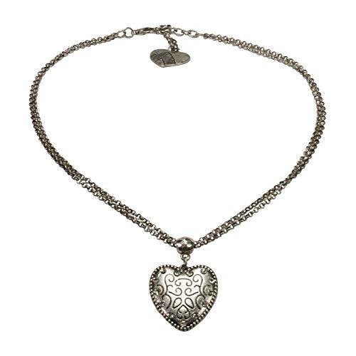 Alpenflüstern Trachtenkette Herz klein - Damen-Trachtenschmuck mit Strass-Trachtenherz, Dirndlkette antik-Silber-Farben DHK170