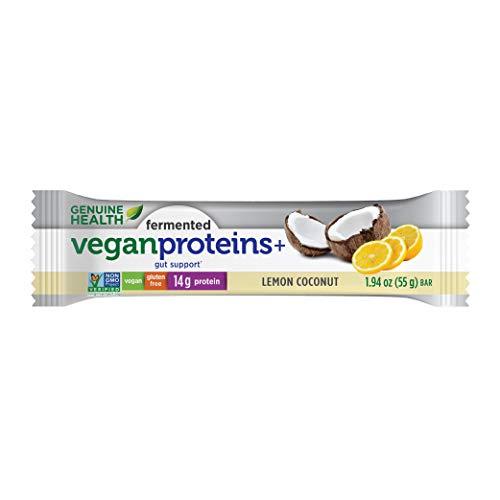 Genuine Health Fermented Vegan Proteins Bar Lemon Coconut 14g Protein Gluten Free 12 Count