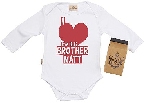 SR - PERSONALISED I Love My Big Brother Body bébé, 0-6 mois Blanc + boîte cadeau