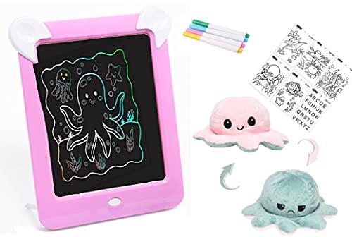 Pizarra magnética Infantil + PULPO reversible - pizarra mágica para niños con marco de fotos y luces led ( 8 efectos de luces , 4 rotuladores y 20 patrones de dibujo) (Rosa)